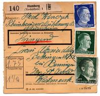 Allemagne  //  Colis Postal  //   De Homberg ( Niederrhein ) - Briefe U. Dokumente