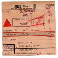 Allemagne  //  Colis Postal  //   De Gera  // Pour Bening ( Bennigen ) // 5-2-43 - Deutschland