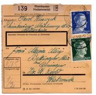 Allemagne  //  Colis Postal  //   De Rheinhausen - Hochemmerich   // Pour Betting ( Bettingen ) Par Bening ( Benningen ) - Briefe U. Dokumente