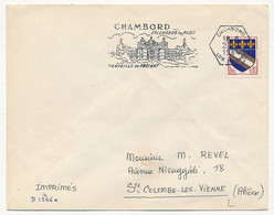 """FRANCE - OMEC à Couronne Hexagonale """"Chambord Loir Et Cher"""" 1964 Sur 0,10 Troyes - Enveloppe SCOTEM - Marcophilie (Lettres)"""