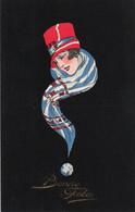 V9Sv   Illustrateur Art Nouveau Déco Femme Dans Un Foulard En Spirale Sur Fond De Velours Noir - 1900-1949