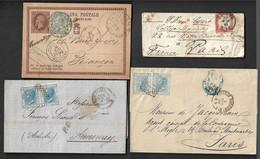 Italie 1861/1877 Un Lot De 3 Lettres Et Un Entier. - 1861-78 Vittorio Emanuele II