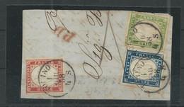 1858 - CENTESIMI 5 - 20 - 40  SU FRAMMENTO - CATALOGO SASSONE N.13 - 15 - 16 - - Sardegna