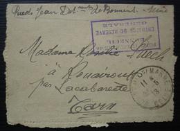 Port Militaire De Bonneuil Entrepôt De Réserve Générale 1918 Cad Bonneuil Sur Marne Sur Carte Lettre Pour Rouairoux Tarn - Marcofilia (sobres)