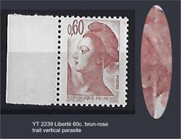 "FR Variétés YT 2239 "" Liberté 60c. Brun-rose "" Trait Vertical Parasite - Variétés: 1980-89 Neufs"