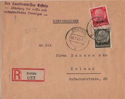 ALLEMAGNE REICH ALSACE YT N°7 ET 11 OBLITERES SUR LETTRE RECOMMANDEE D'ERSTEIN POUR COLMAR - Deutschland