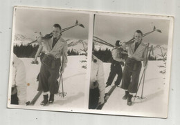Cp ,carte Photo , Carte Stéréoscopique , Sports D'hiver , Ski, 1937, Vierge - Stereoscope Cards