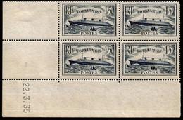 Paquebot Normandie N° 299 ** Bloc De 4 Coin Daté 22.3.35 - 1930-1939