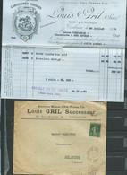 N° 137 Perforé G.L  - Louis Gril Successeur - Toulouse   21/07/1907 ( Lac Avec Facture )  LL18705 - Frankrijk