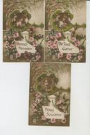 """FEMMES - FRAU - LADY - Série De 3 Cartes Fantaisie Femme Dans Trèfle """"Bonnes Pensées - De Tout Coeur - Doux Souvenir """" - Women"""