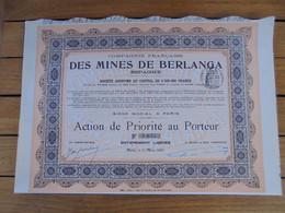ESPAGNE - CIE FRANCAISE DES MINES DE BERLANGA - ACTION DE PRIORITE - PARIS 1907 - Unclassified