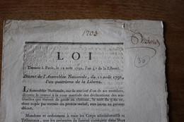 1792  Déclaration Du 12 Août 1792    Sur L'affaire Des Tuileries Du 10 Août - Historische Documenten