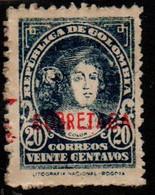 """A713E -KOLUMBIEN - 1947. MNH - ZWANGSZUSCHLAGSMARKEN- MI#: 36- COLUMBUS- """"SOBRETASA"""" RED OVERPRINTED - Colombia"""