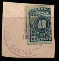 "A713G -KOLUMBIEN - 1902. USED ON PIECE - MI#: 162 - ""CARTAGENA"" CANCEL. - Colombia"