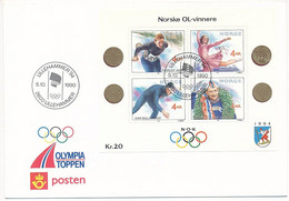 Mi Block 14 FDC / Winter Olympics Lillehammer '94, Historical Norwegian Gold Medalists  - 5 October 1990 - FDC