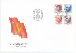 Mi 1084-87 FDC / Definitives, King Harald V, Queen Sonja, Royalty  - 21 February 1992 - FDC