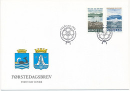 Mi 1098-99 FDC / Towns Molde & Kristiansund 250th Anniversary, Heraldry, Whale  - 12 June 1992 - FDC