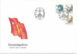 Mi 1116-18 Y FDC / King Harald V, Queen Sonja, Royalty  - 23 February 1993 - FDC
