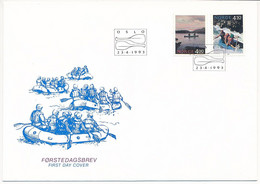 Mi 1123-24 FDC / NORDEN Tourist Attractions, Kayak, Rafting  - 23 April 1993 - FDC