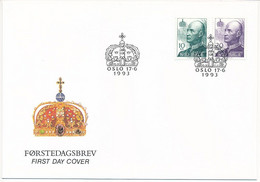 Mi 1131-32 A Y FDC / King Harald V, Royalty  - 17 June 1993 - FDC