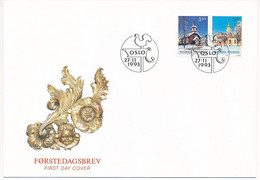Mi 1141-42 FDC / Christmas, Churches, Rooster  - 24 September 1993 - FDC