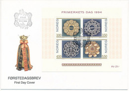 Mi Block 21 FDC / Stamp Day, Silver Brooch, Jewelry, Craft  - 23 September 1994 - FDC