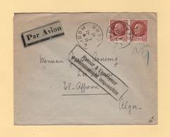 Retour A L Envoyeur Acheminement Impossible - Destination Algerie Par Avion - 1942 - Gers - WW II