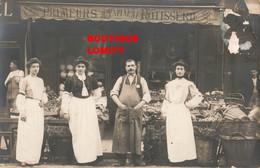 Magasin Maison Pineau Primeurs Torisserie Cpa Carte Photo Photographie Patron Et Jolie Vendeuse - Shops