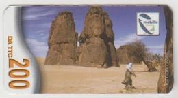 ALGERIA - Canyon Of Tamanrasset (Mini Size), Mobilis (Algerie Telecom) Mobile Refill, 200 Algerian Dinar, Used - Algeria