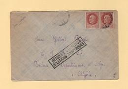 Retour A L Envoyeur Relations Suspendues - Par Avion Destination Algerie - WW II