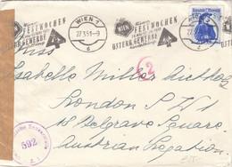 """ÖSTERREICH Zensur 1951 - 1,70 S Trachten Blau + Roter """"2"""" Stempel Auf Brief (ohne Inhalt) - 1945-60 Cartas"""