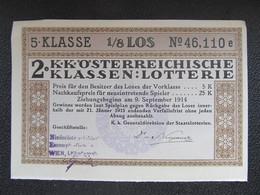 Los Lotterielos Austria 1914 österreichische Klassenlotterie Österreich ///  D*45996 - Lottery Tickets