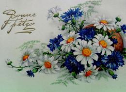 Cpa FLEURS DES CHAMPS . JOLI BOUQUET DE MARGUERITES ET BLEUETS . 1937 . FLOWERS DAISIES AND CORNFLOWERS OLD PC - Flores