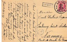 Yvoir  , Griffe Linéaire Encadrée   , Cachet  Namur 1927 ( La Meuse Et Les Villas De Fidevoye , Péniche - Linear Postmarks