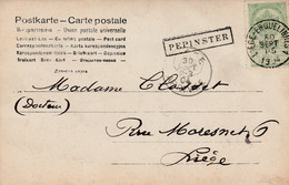 Pepinster  , Griffe Linéaire , Cachet Ambulant  Liège - Erquelinnes    1904 - Linear Postmarks