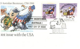 (Q 2) FDC Cover -  Australia Bi-Centenary Joint Issue With USA & New Zealand (2 Covers) - Sobre Primer Día (FDC)