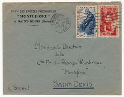 FRANCE - Env Affr 5F +3F Pécheur +10F +6F Métallurgie - Strasbourg Gare 1949 - Cartas
