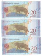 Venezuela 3x 20 Bolivares, 2018. UNC, Consec. Notes. - Venezuela