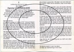 Z.510 Albrecht Rodenbach (arbeidsongeval Aan Boord) Utterwulge Dennis, Knokke - Heist - Zeebrugge (visser,zeeman) - Devotieprenten