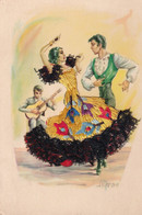 Carte Brodée Illustrateur Signé Espagne Flamenco 2 Recto Verso - Embroidered