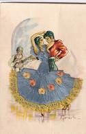 Carte Brodée Illustrateur Signé Espagne Flamenco 3 Recto Verso - Embroidered