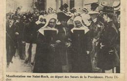Manifestation Rue Saint Roch ,au Depart Des Soeurs De La Providence Recto Verso - Arrondissement: 01