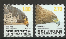 BOSNIA AND HERZEGOVINA 2019,SERBIA BOS,EUROPA CEPT,NATIONAL BIRDS,EAGLES,,AQUILA CHRYSAETOS,FALCO PEREGRINUS,,,MNH - Bosnië En Herzegovina
