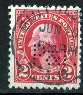 USA Perfin 1923 G. Washington 2 Cts Carmin / Perforé  Pand I . - Used Stamps