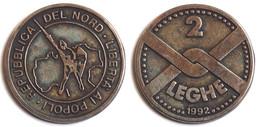 MED 162- MEDAGLIA 2 LEGHE 1992 - LIBERTA AI POPOLI REPUBBLICA DEL NORD - Diam. Mm: 35 - Italy