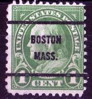 USA 1923 Precancel G.Washington 1 Ct Green Préo /  Boston Mass. - Used Stamps