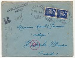 Enveloppe - Affr. Composé 4F Pétain Bersier X2 - Recommandé Provisoire La Villa Magenta (Marne) - Vers STO 1943 - 1941-42 Pétain