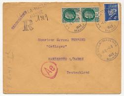 Enveloppe - Affr. Composé 4F Pétain Bersier + 2Fx2 - Recommandé Provisoire La Villa Magenta (Marne) - Vers STO 1943 - 1941-42 Pétain