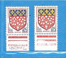 VARIÉTÉ FRANCE Blason Amiens Jaune Doublé ! 1962 Neuf **  . - Varieties: 1960-69 Mint/hinged
