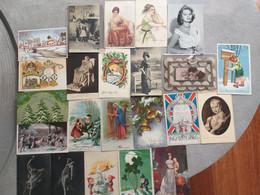 Lot De 150 Cartes Fantaisie - Thèmes Divers - Femmes, Fleurs, Animaux, Illustrations... Lot N° 1 - Postcards